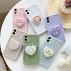 iphone11 ケース 韓国 TPU ぷっくりハートグリップ付きケース スマホグリップ 女性用 SE2 7 8 X Xs XR 11Pro 12 12mini 12pro 12promax