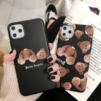 iphone11 携帯 スマホ ケース 韓国 シリコン シンプル 個性的クマ アニマル ケース 傷防止 お揃い カバー iPhone SE2 7 8 X Xs XR 11pro 11promax