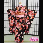 七五三 女の子 7歳 四つ身 JAPAN STYLE 子供 着物レンタル 帯付きセット 黒  07-160OI