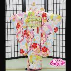七五三 女の子 7歳 四つ身 JAPAN STYLE あしだまな 子供 着物レンタル 帯付きセット ブルー 桜と白鳥  07-218IM