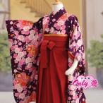 女の子  着物袴セット/卒園式/子供/着物レンタル/袴セット 花夢二 7-178MR 紫 70-411MR エンジ