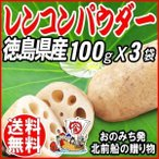 お試し れんこんパウダー レンコン粉末 パウダー 国産 無添加 徳島県産 100g×3袋 送料無料 6/22以降の発送