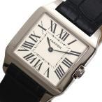 カルティエ Cartier サントスデュモン SM W2009451 クォーツ WG無垢 レディース 革ベルト 腕時計(中古)