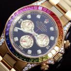 ロレックス ROLEX デイトナ レインボー 116598RBOW 自動巻き 金無垢 ダイヤモンド サファイア クロノグラフ メンズ 腕時計(中古)