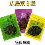 広島菜  刻み漬物 3品 ご飯のお供 送料無料 メール便  ( 安芸紫 ・ 青しそ ・ レモン )