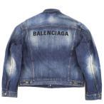 バレンシアガ 20SS バックロゴ デニムジャケット メンズ インディゴ 46 オーバーサイズ ウォッシュ加工 BALENCIAGA【G1-16650】