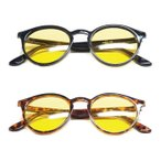 ボストン型 ラウンド型 偏光サングラス イエロー 黄色 偏光レンズ 夜間 雨天 ナイトドライブ メガネケース付 UVカット