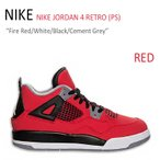 ショッピングNIKE NIKE JORDAN 4 RETRO PS Fire Red White Black Cement Grey ナイキ 308499-603 スニーカー シューズ