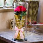 アクリルケースに入ったプリザーブドフラワーの花束【20色のプリザから2色お選びください】