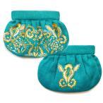 ショッピングエスニック モイナ(Moyna)オリエンタルフラワー刺繍ギャザークラッチバッグ/花柄/ターコイズ×イエロー