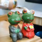 アジアン ウェディングカエル バリ木彫り バリねこ カップルカエル アジアン雑貨 置物