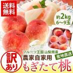 送料無料 フルーツ 果物 山梨県産 産地直送 訳あり 農家自家用桃 約2kg 6〜9玉入り もも