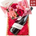 Yahoo!ワインとグルメギフトの専門ストア2018母の日ギフト ワインとお花 フランスのオーガニック赤ワイン、ピンクカーネーションと赤バラのフラワーアレンジメント