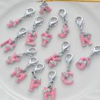 ショッピングエナメル ギフト プレゼント チャーム エナメルリボンアルファベットチャーム ピンク 単品
