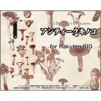 スマホケース Rakuten BIG ZR01 ラクテン ビッグ ハードケース/TPUソフトケース アンティークキノコ きのこ エリンギ しめじ 茶色