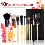 訳あり 10本メイクブラシセット、化粧筆セット、化粧ブラシセット、ブラシケース付き STZ-1002N