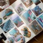 100枚 海外フレークシール マスキングテープ素材◆色別7種◆和紙 半透明 ステッカー 手帳デコ マステ コラージュ素材 レトロ ビンテージ