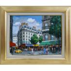絵画 油絵 風景画F6 パリの街角 斉藤 要画