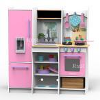 【送料無料】KIDKRAFT 木製キッチンセット「Harvest Play Pink Kitchen」小物22ピース付き♪ キッドクラフト/おままごと/大型キッチン/本格的/ピンク
