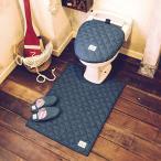 デニム トイレタリー(2点セット)ロングマット+洗浄暖房ウォシュレットフタカバー(80×60)LaidBack おしゃれ 西海岸 ロンハーマン好き ふんわり 胴長