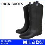 ミレディ MILADY レインブーツ レディース ML430 12144300 LL(ブラック/24.5cm-25.0cm)【ラバーブーツ ジッキーブーツ シンプル 長靴 防水】【GTT】