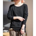 ロンT ロングTシャツ 長袖 レディース 無地 シンプル シンプル袖くしゅロンT※ネコポス可※【10】