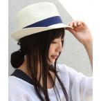 ハット レディース 帽子 リボン ストローハット 麦わら帽子 春夏 UV『ストローハット』※返品交換不可※【メール便不可】