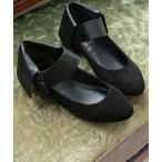 レディース 靴 パンプス シューズ ローヒール ぺたんこ ベルト調整 ストラップ 歩きやすい S M L LLサイズ somari異素材ベルトパンプス 【メール便不可】