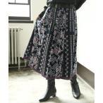 ニットスカート レディース 秋冬 ボトムス フレア ジャガード 綿100% 花柄 『ヴィンテージ花柄ジャガードニットスカート』【メール便不可】