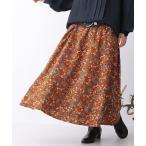 ロング スカート レディース ボトムス フラワープリント フレアスカート 花柄 裏地付き 綿100% セットアップ『レトロフラワーロングスカート』【メール便不可】