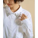 シャツ レディース トップス ブラウス 長袖 襟付きシャツ ビジュー タック 比翼仕立て 白 黒 『オリジナル襟ビジューシャツ』【メール便不可】
