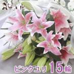 【ピンク 百合 15輪 花束】ゆり お盆 供花 お彼岸  花 お供え