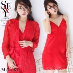 フラワーレース&赤サテンのガウン+ベビードール+帯のセット M/L/XL  red