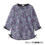 5分袖リボン配色Tシャツ ブラック L 89716-22