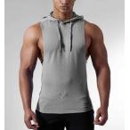 二点送料無料メンズスポーツベスト 5色 フィットネスフード付きトレーニングタンクトップメンズノースリーブ  カジュアル Tシャツ シンプル吸汗速乾トップ
