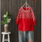 森ガール風レディースシャツブラウス二点送料無料ナチュラル綿麻チュニックシャツ花柄刺繍エレガントトップス上着コットンTシャツ可愛いプルオーバー