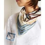 OTONA 40代 50代 60代 シルクスカーフで品格と彩どりを ハーネスモチーフ スカーフ アイボリー ブルー
