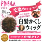 プリシラ 白髪かくしウィッグ(分け目タイプ) 急なお出かけの前にのせるだけで白髪をカバー 送料無料