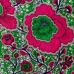 生地 ブロード アフリカンプリント アフリカ 布 50cm単位 花柄 ポピー ガーベラ お花 緑 ピンク グリーン ハンドメイド カットクロス 手芸 材料 AP-11525