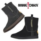 MINNETONKA ミネトンカ 限定モデル リブニット ショートブーツ 18M03 レザー 本革 ニットブーツ ミネトンカ ブーツ レディース 靴 ブラック グレー 送料無料