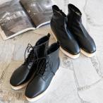 ブーツ 厚底 ショート レディース シャークソール 紐 レースアップ 編み上げ 黒 4.5cmヒール 送料無料