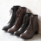 ブーツ レースアップブーツ ミドル ショート 履きやすい 脱ぎやすい 卒業式 袴 黒 茶 白 送料無料 3/12 12:59マデ 2,999円 pre