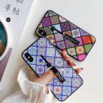 スマホケース モロッコタイル柄リングベルト付きiPhoneケース