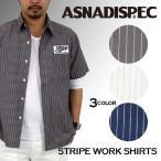 シャツ メンズ ストライプ カジュアルシャツ ワークシャツ 半袖 柄 白シャツ ASNADISPEC アスナ アスナディスペック アメカジ ストリート 2017 春 新作
