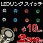 LEDリング プッシュスイッチ (全5色) φ19mm ステンレス加工 12v/24v兼用 [1個売り]