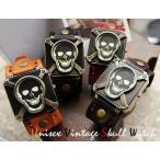 送料無料 ヴィンテージ スカル ドクロ腕時計 ブレス 男女兼用