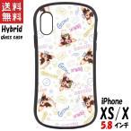 グレムリン iPhone Xs X 対応 ハイブリッドガラスケース 総柄 GRM-131C グルマンディーズ