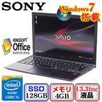 中古ノートパソコンSONY VAIO Pro 13 SVP1322SWJ Windows7 Professional 64bit Core i5 1.6GHz 4GB 128GB ドライブ なし 13.3インチ B1109N036 送料無料