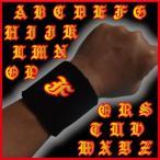 リストバンド 「黒」 アルファベット「F」 刺繍入り 他全26文字あり 野球にテニス、バスケットに!「赤色」もございます