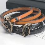 Bracelet Pair - LAUSS 【ペアブレスレット】 インフィニティー 本革3重巻きレザー ペアブレスレット アンティーク 仕上げ(klb002)